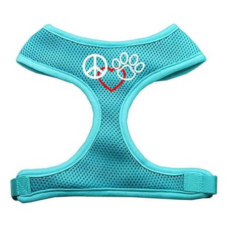 Peace, Love, Paw Design Soft Mesh Harnesses Aqua Medium
