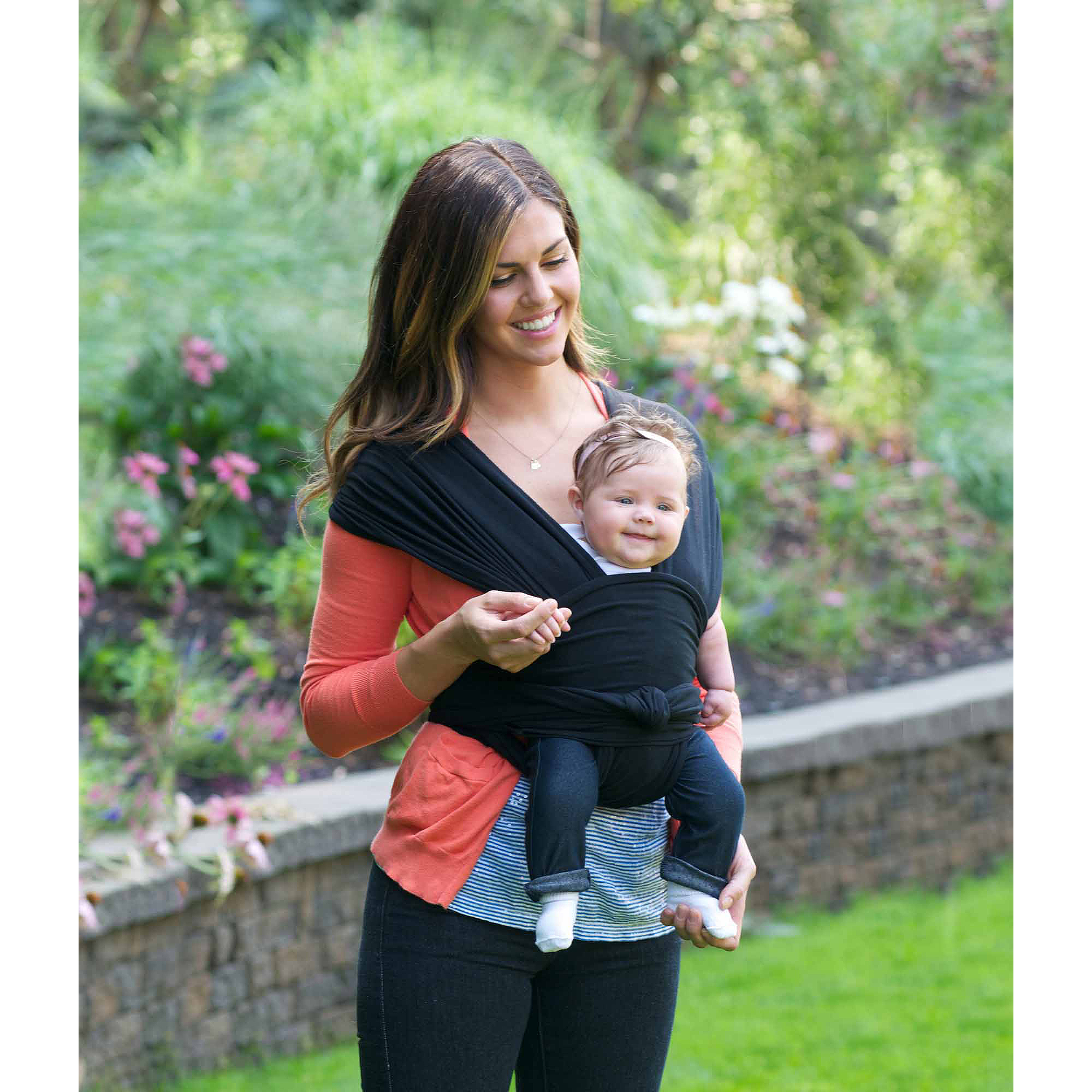 Jj Cole Agility Stretch Carrier Baby Wrap Carrier Black Large