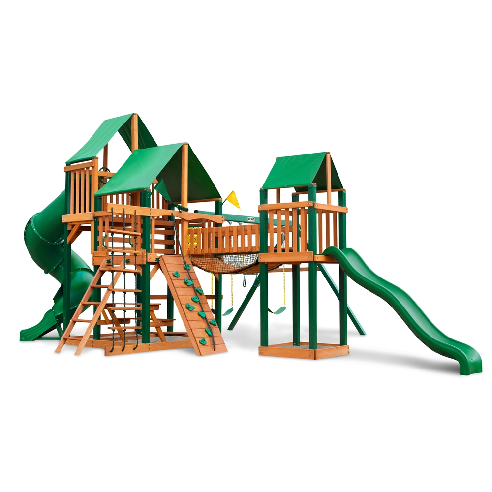 Gorilla Playsets  Timber Shield and Deluxe Green Vinyl Canopy Treasure Trove