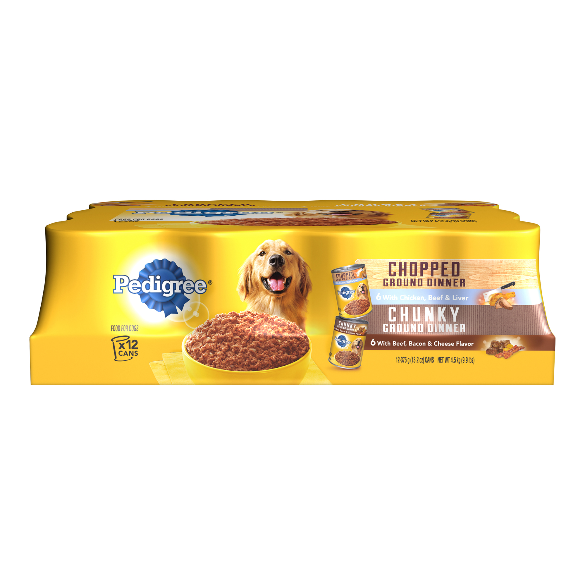 PEDIGREE Meaty Ground Multipack Chicken Liver Beef & Beef Bacon Cheese 13.2 oz. (12 Count)