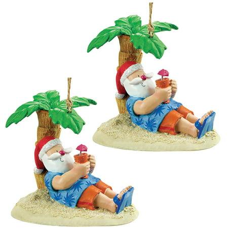 Resin Christmas Ornaments.Set 2 Tropical Santa Under Palm Tree W Drink Resin