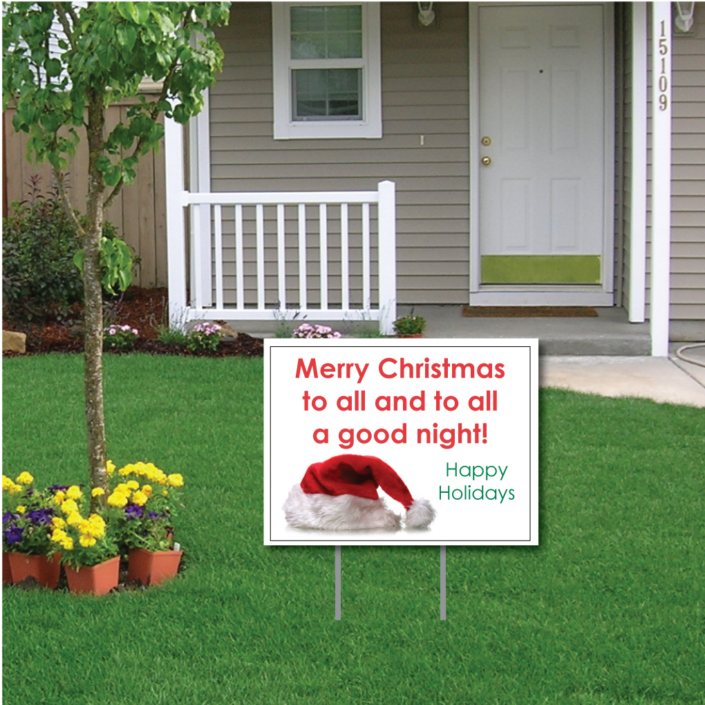 Merry Christmas to All and to All a Good Night! Christmas Lawn Display - Yard Sign Decoration with EZ Stakes