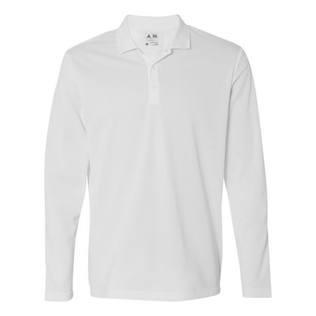 - Adidas A186 Men's ClimaLite Long Sleeve Polo -White/Black-Small