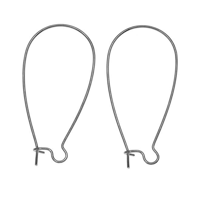 Gun Metal Plated Earring Hooks Kidney Wires 36mm (10 Pairs)