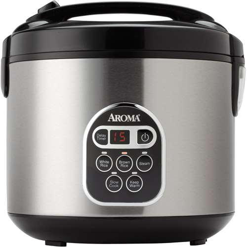 Aroma 20-Cup Programmable Rice Cooker, Slow Cooker and Food Steamer, Stainless Steel