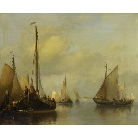 Indoor Transfer Panel - Fishing Boats On Calm Water By Antonie Waldorp 1840-50 Dutch Painting Oil On Panel At Left The Catch Is Transferred To Men In A Row Boat Poster Print