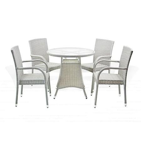 SK New Interiors Outdoor Patio Set Of 4 Wicker Armchairs