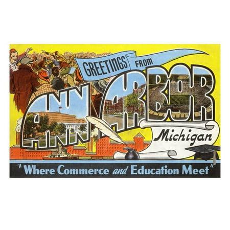 Greetings from Ann Arbor, Michigan Print Wall Art