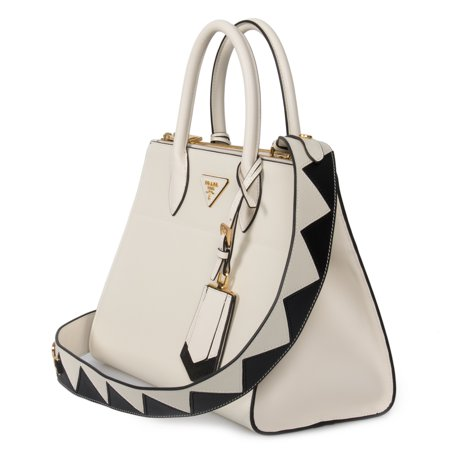 Prada Paradigme Saffiano Leather Bag In White Prada Shopper Bag