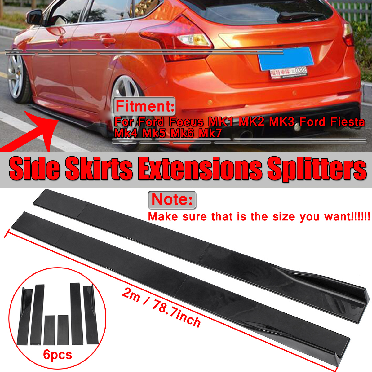For Toyota Camry L LE XLE SE Corolla Side Skirts Extensions Lip Splitter