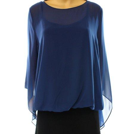 ALFANI Womens Blue Sheer W/cami Bell Sleeve Jewel Neck Tunic Top  Size: L