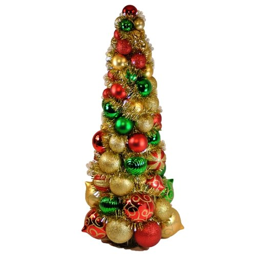 Queens of Christmas WL-BTR-24-3M 2ft Multi ColoRed Ornament Tree