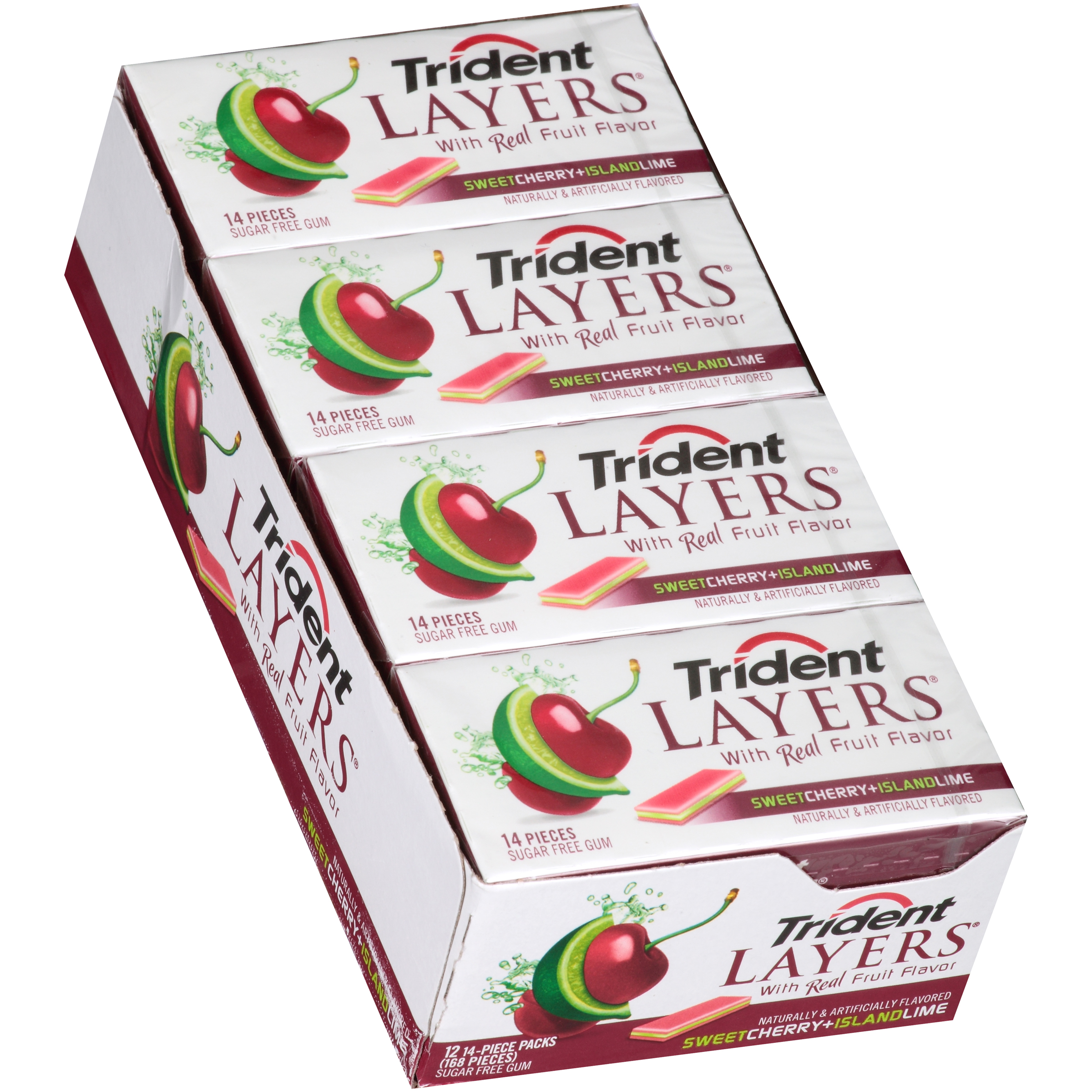 Mondelez Trident Layers Gum, Sweet Cherry And Island Lime, 14 Piece Pack, 12 Ct