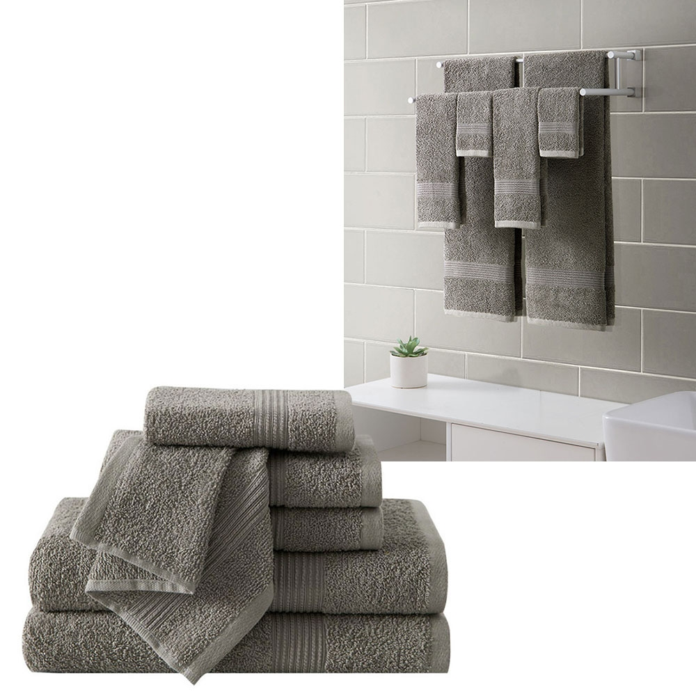 "Ribbed Luxury Bath Towel 6 Piece Set 100% Cotton, Gray (2 Bath Towels 54"" x 27"", 2 Hand Towels 28"" x 16"" and 2 Wash Cloths 13"" x 13"")"