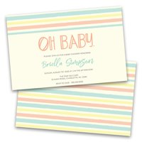 Personalized Pastel Oh Baby Striped Baby Shower Invitations