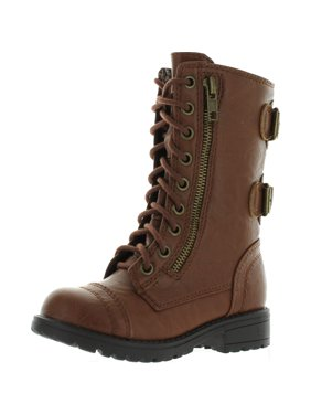 Soda Girls Kids Dome-2S Lace Up Military Combat Boots