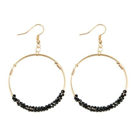 Riah Fashion Beaded Statement Earrings Lightweight Sparkly Crystal Teardrop Dangle Crystal Dangle Bead Earrings