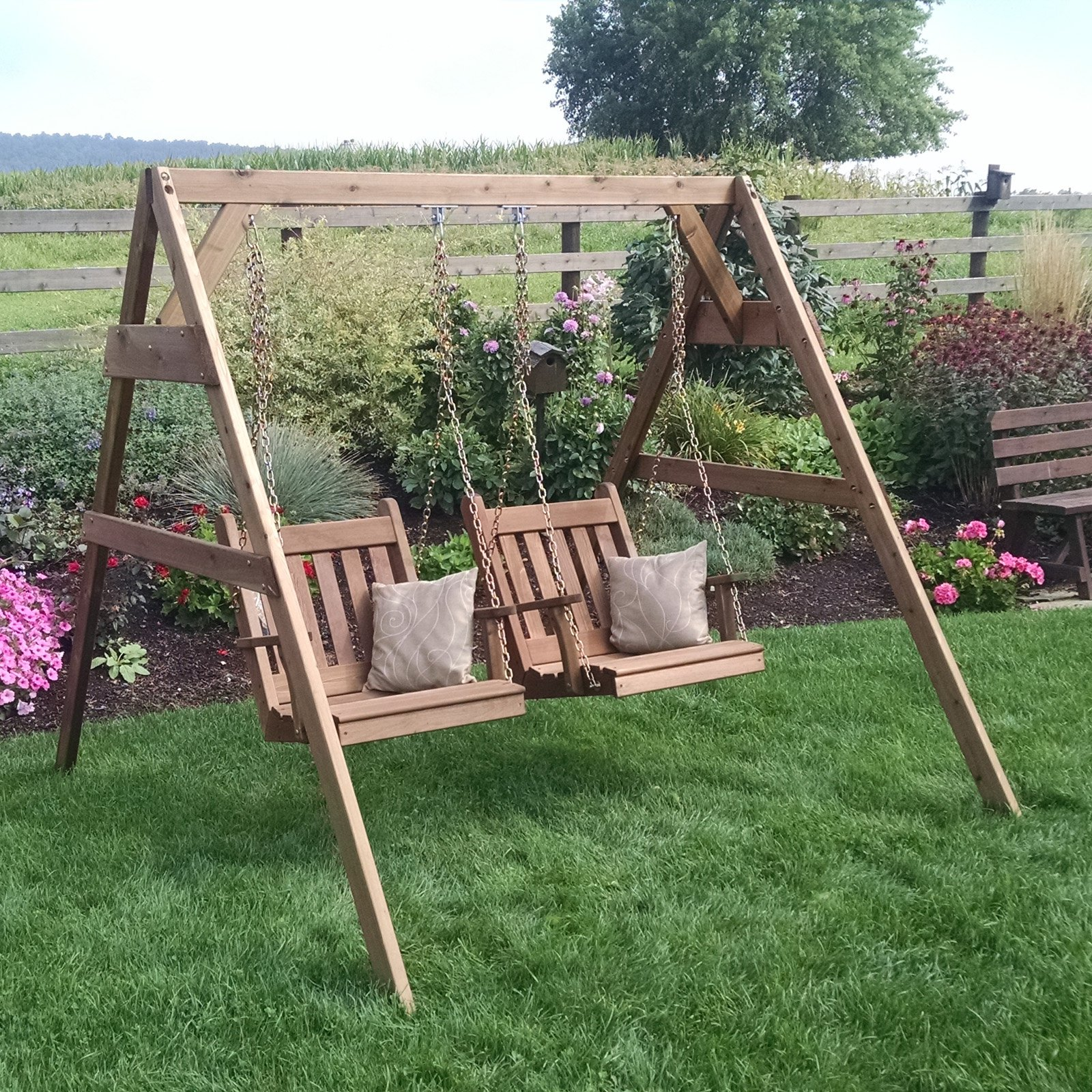 A & L Furniture Western Red Cedar A-Frame Swing Stand for Swing or Swing Bed