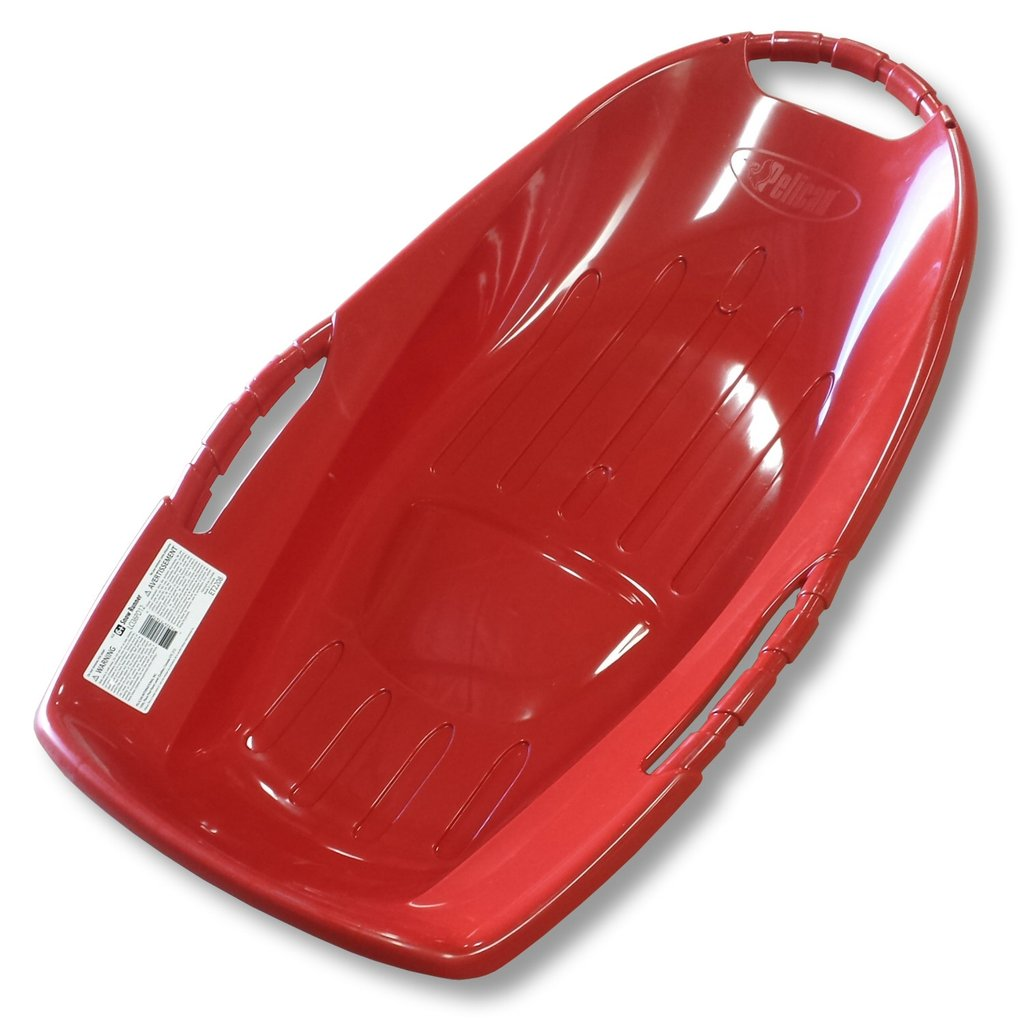 "Snow Runner 36"" Red Plastic Snow Sled with Bottom Grooves by"