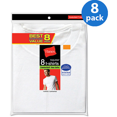 Hanes Men's Value 8 Pack White Crew T-Shirt