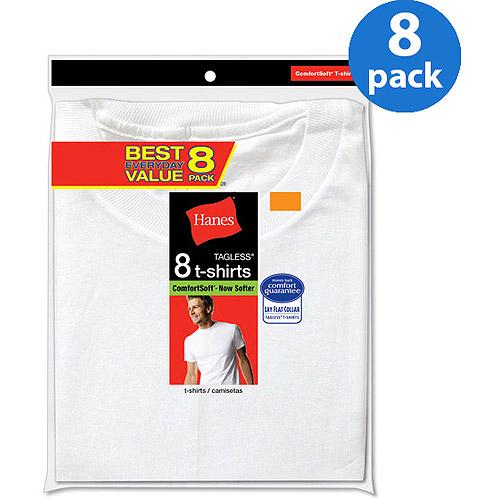 Hanes Mens ComfortSoft White Crew Neck T-Shirt Value 8-Pack