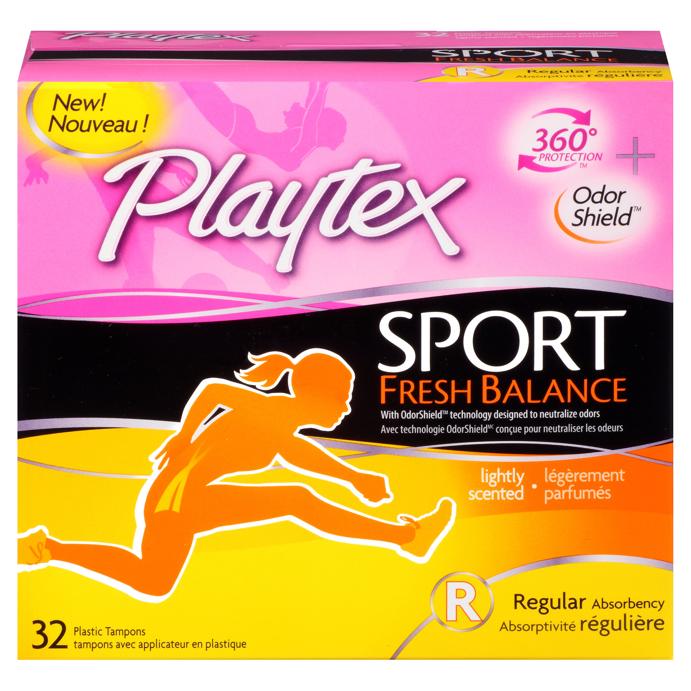 Playtex Sport Fresh Balance Tampons, Regular Absorbency, 32 Ct