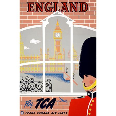 England Fly Tca Trans Canada Air Lines Travel Canvas Art     18 X 24