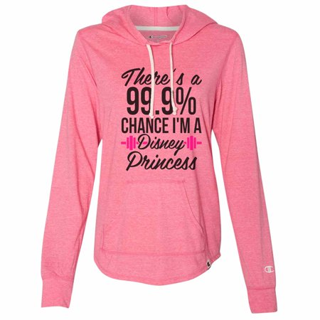 "Funny Women's Disney Champion Hoodie ""There's A 99.9 Chance I'm A Disney Princess"" Light Weight Sweatshirt X-Large, Pink](Disney Hoodies)"