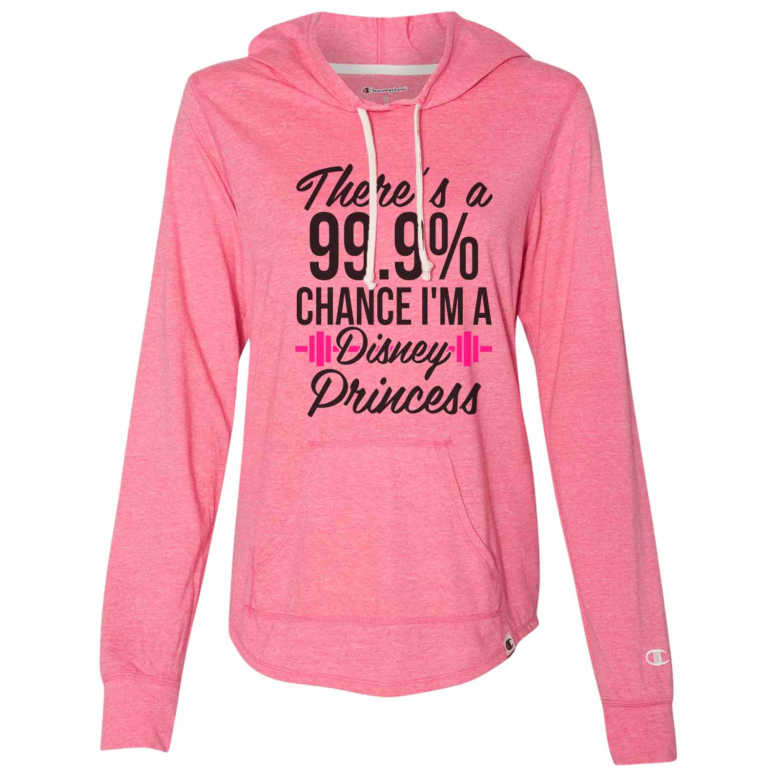 "Funny Women's Disney Champion Hoodie ""There's A 99.9 Chance I'm A Disney Princess"" Light Weight Sweatshirt Large, Blue"