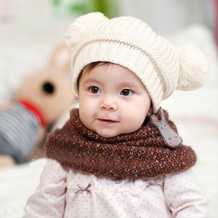 Outtop Cute Baby Kids Girl Boy Dual Balls Warm Winter Knitted Cap Hat Beanie WH - Disco Ball Hat