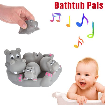 - Cute Animal Mummy And 3 Babies Squeaky Floating Bathtub Play Toys Hippo