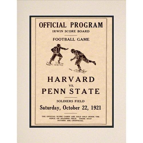 NCAA - 1921 Penn State Nittany Lions vs. Harvard Crimson 10 1/2 x 14 Matted Historic Football Poster