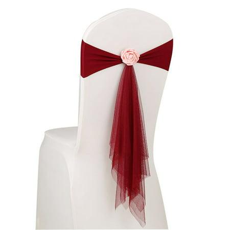 Flower Sash (Joyfeel Clearance Bowknot Flower Chair Ribbon No-tie Chair Bow Sash Wedding Chair Cover Chair Back)