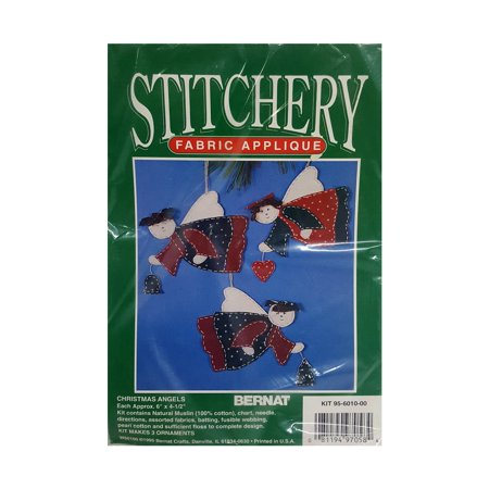 Bernat Stitchery Fabric Applique Christmas Angels Ornament Kit (Fabric Applique Kit)