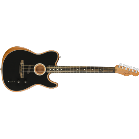 Fender American Acoustasonic Telecaster Acoustic Electric Guitar w/Bag, Black Telecaster Black Electric Guitar
