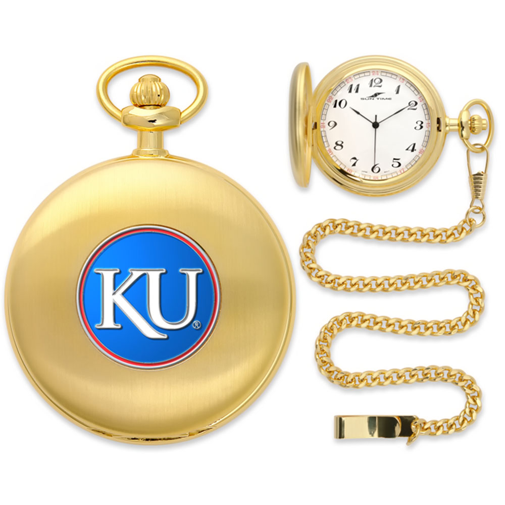 Kansas Jayhawks NCAA Gold Pocket Watch
