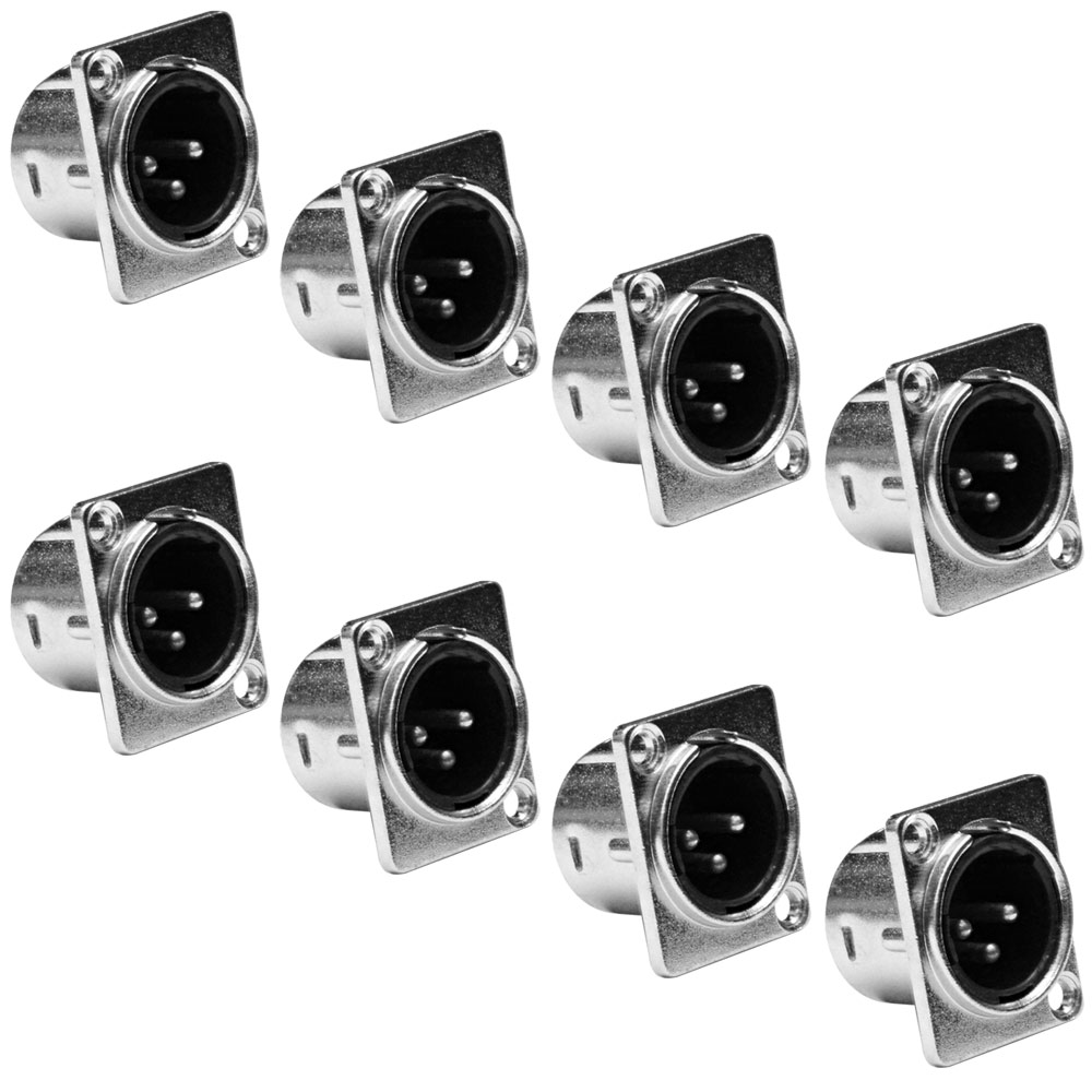 Seismic Audio 8 Pack - XLR Male Nickel Panel Mount Connectors Silver - SAPT51-8Pack