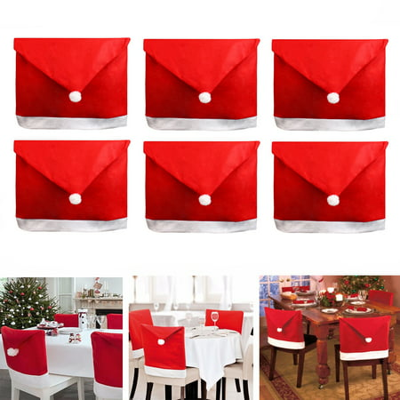 6PCS Christmas Chair Covers Dinner Chair Santa Hat Home Decorations 20''x24''