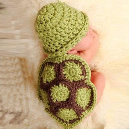 Crochet Beanie Baby Hat (Baby Newborn Turtle Knit Crochet Clothes Beanie Hat Outfit Photo Props)