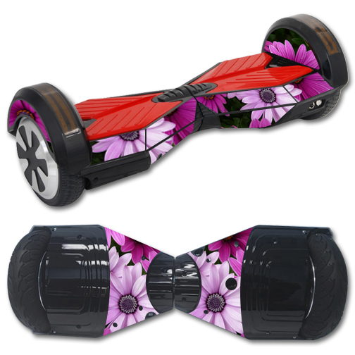 Skin Decal Wrap for Balance Board Scooter Hover bluetooth Purple Flowers