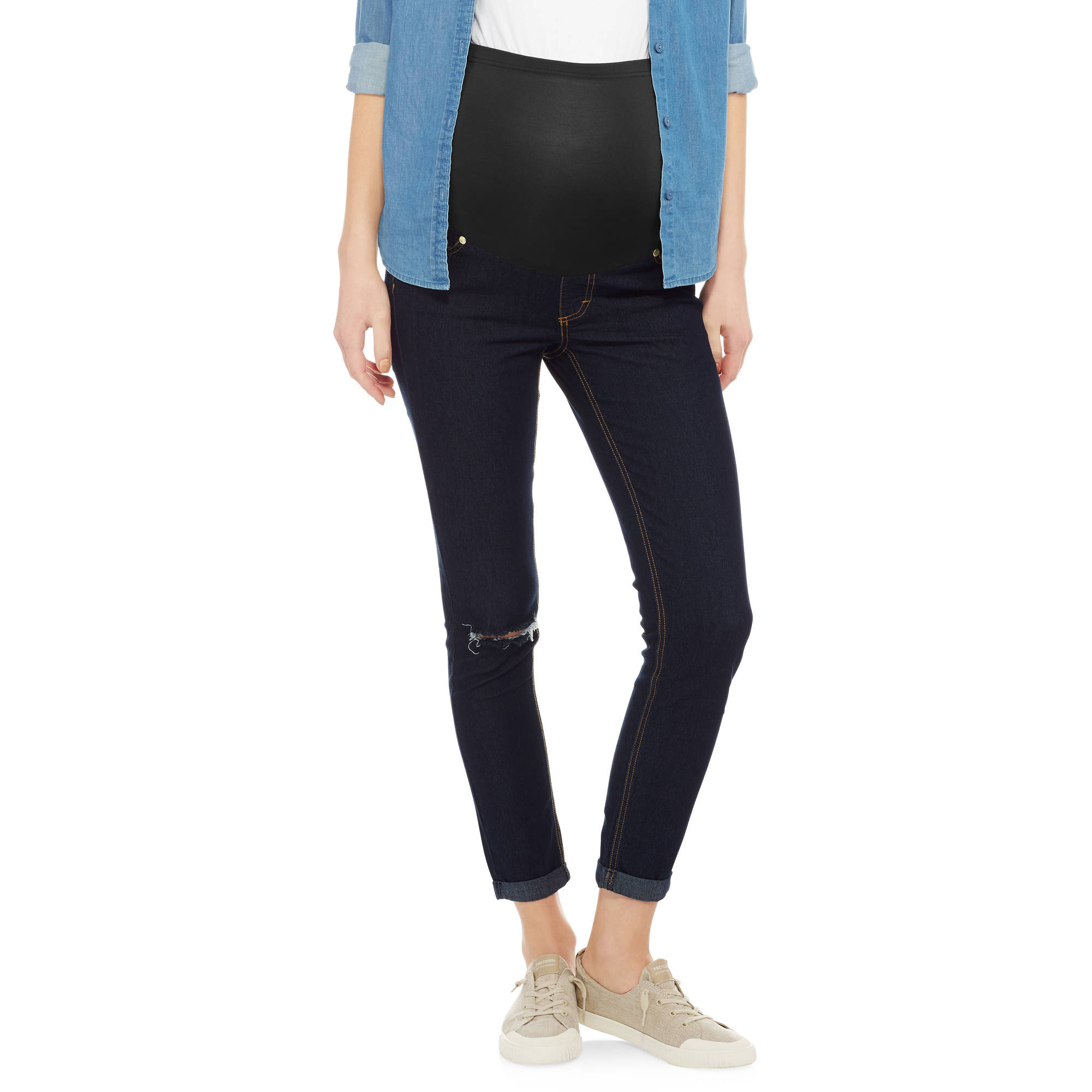 Oh Mamma Maternity Full Panel Super Soft Destructed Skinny Boyfriend Crop Jeans