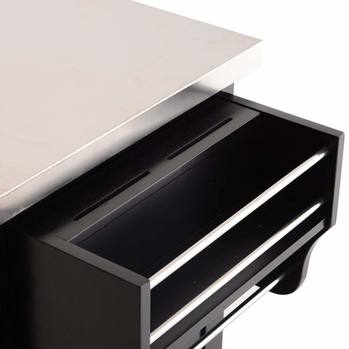 Ebern Designs Taunton Rolling Kitchen Island with Stainless Steel Top