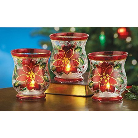 christmas poinsettia votive candle holders set of 3 by collections etc - How To Decorate Votive Candle Holders For Christmas