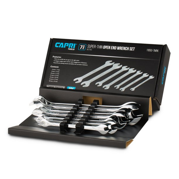 Capri Tools Super-Thin Open End Wrench Set, Metric, 6 to 19 mm, 7-Piece