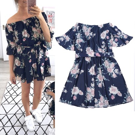 Family Dress Mother and Daughter Matching Women Girls Off Shoulder Floral Outfits Clothes Dresses - Family Dress