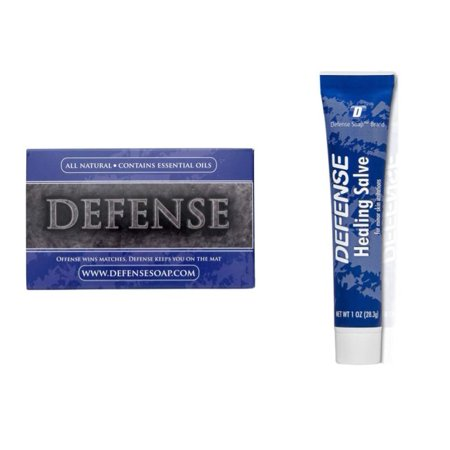 Defense Soap and Defense Herbal Healing Salve Combo | 100% Natural Tea Tree Oil and Eucalyptus Oil Helps with Scratches, Scrapes, Ringworm, Acne, Psoriasis, Jock Itch, and Athlete's