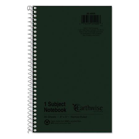 Earthwise by Oxford 1-Subject Notebook, Narrow Rule, 8 x 5, WE, 80 SH -TOP25400