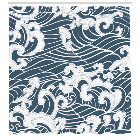 Japanese Wave Shower Curtain, Hand Drawn Traditional Style Aquatic Doodle River Storm Retro Abstract, Fabric Bathroom Set with Hooks, Slate Blue White, by Ambesonne
