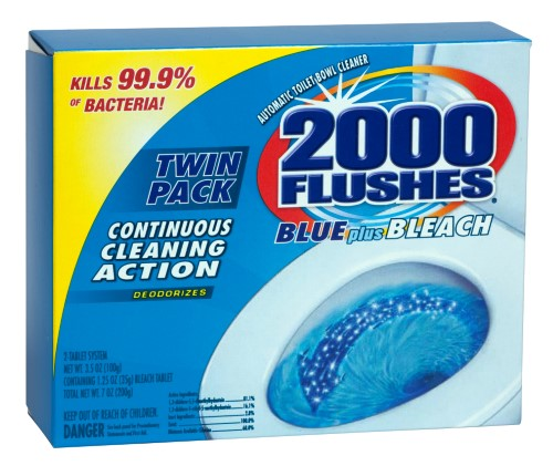 2000 Flushes Anti Bacterial Blue Plus Bleach Twin Pack