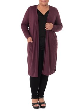 Wright's Women's Plus Size Lightweight Jersey Duster Cardigan
